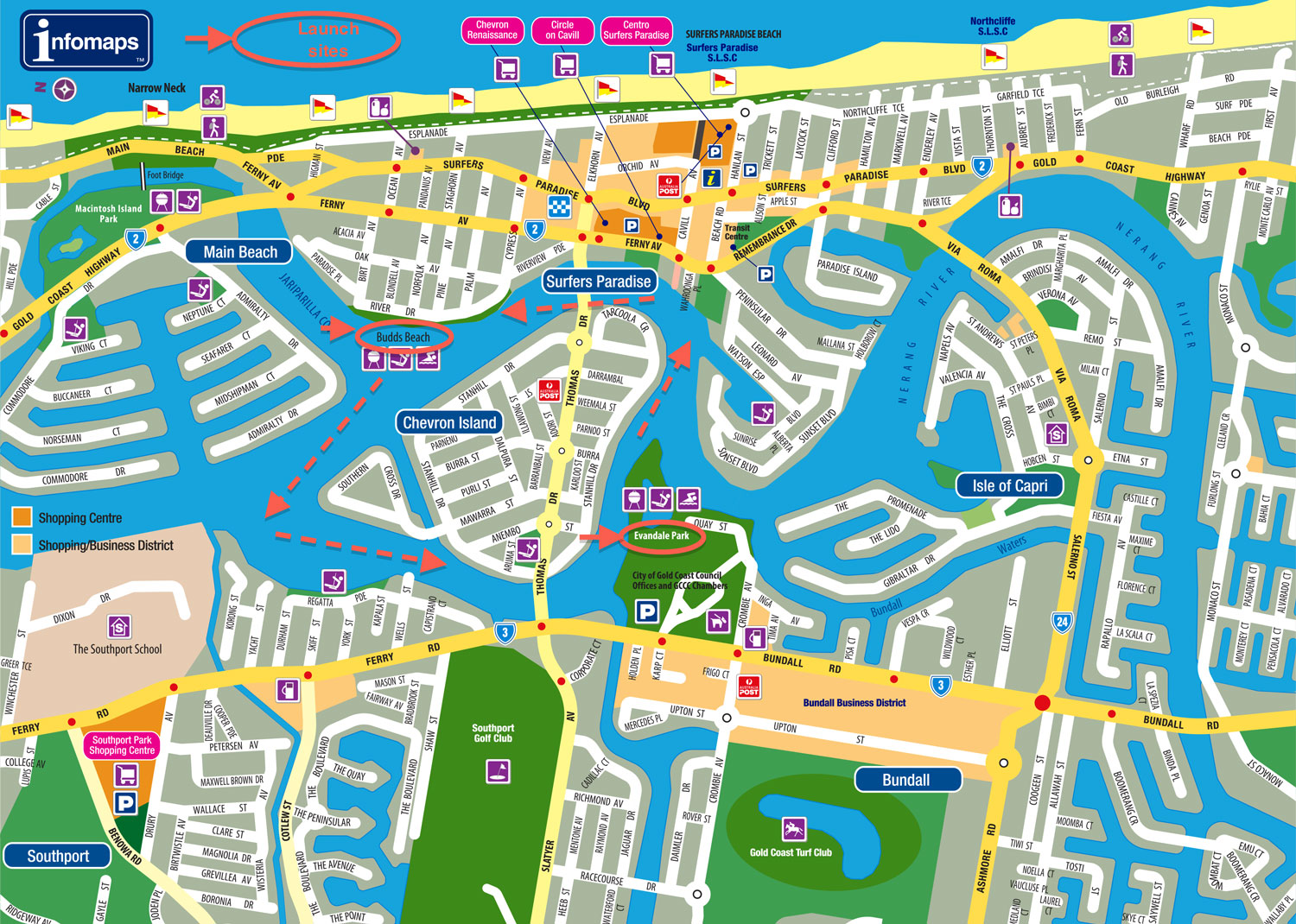 Surfers Paradise SUP map